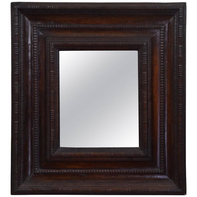 Italian Late Renaissance Carved Walnut Mirror, Early 17th Century