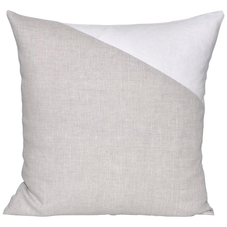 Large Irish Linen Geometric Cushion in Vintage White and Natural Oatmeal Pillow