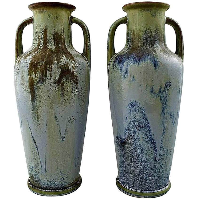 Pair of Large French Art Pottery Vases, Denbac