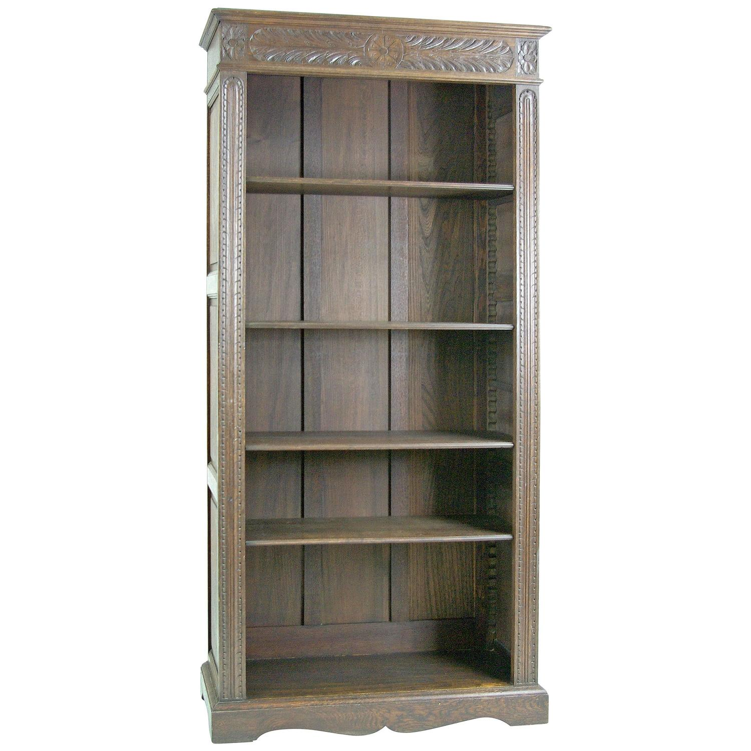 antique scottish victorian tall heavily carved oak bookcase bookshelf for sale at 1stdibs