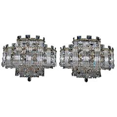 Beautiful 1960s Crystal Sconces, ( with matching chandelier )
