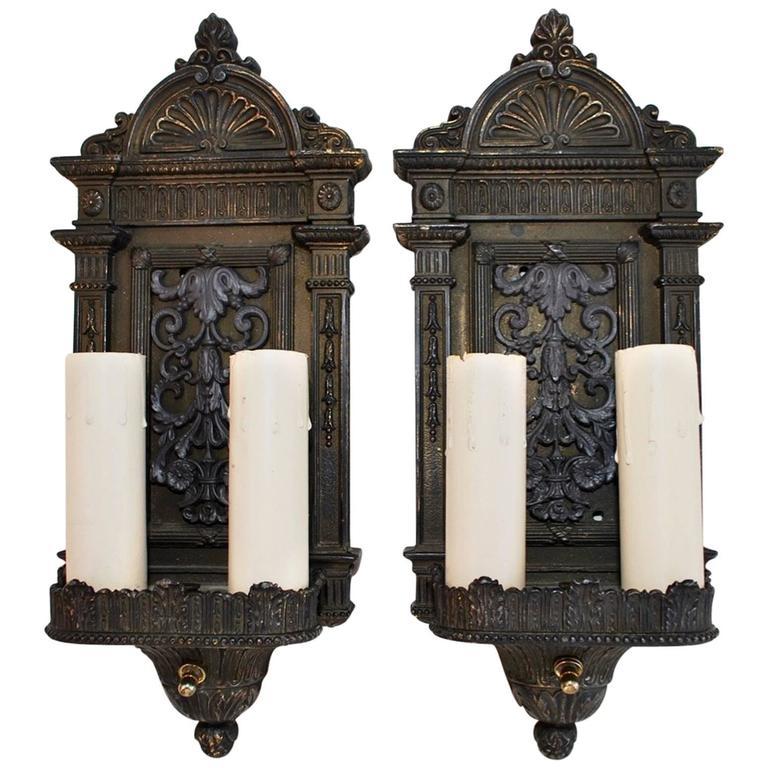Elegant Pair of 1920s Sconces Colonial or Regency Style