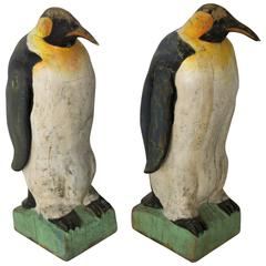 Pair of Large Carved Penguins