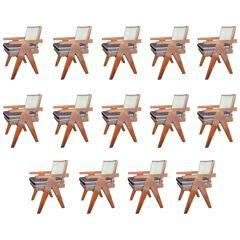 Set of 14 Pierre Jeanneret Armchairs
