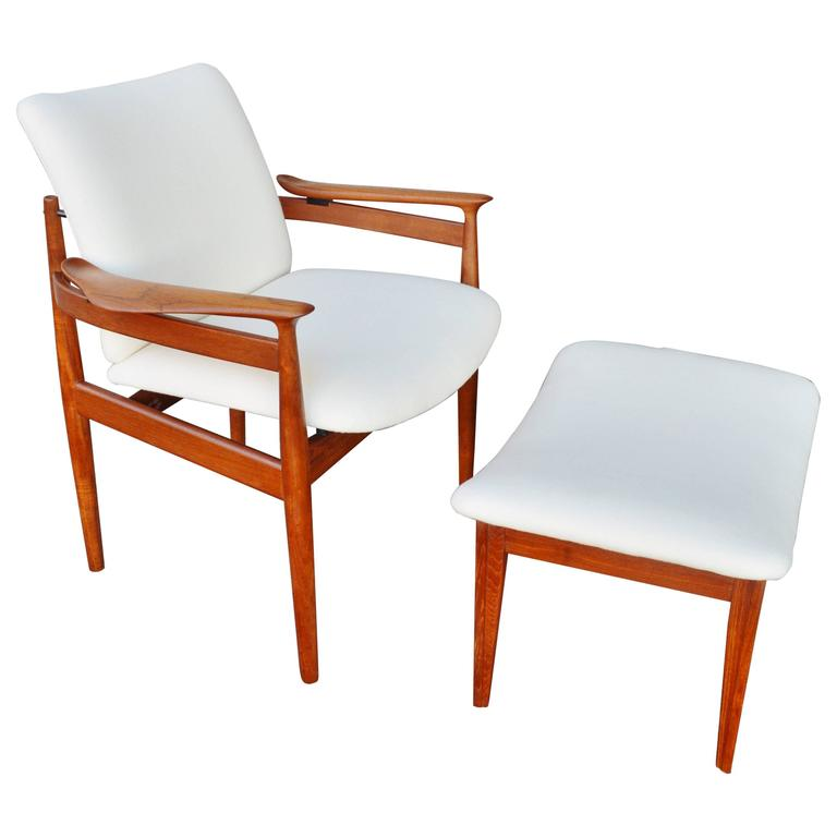Finn Juhl Teak Lounge Chair and Ottoman for France & Sons
