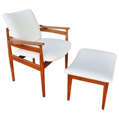 Finn Juhl Teak Lounge Chair and Ottoman for France & Sons
