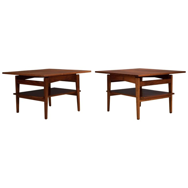 Midcentury Walnut Side Tables by Jens Risom