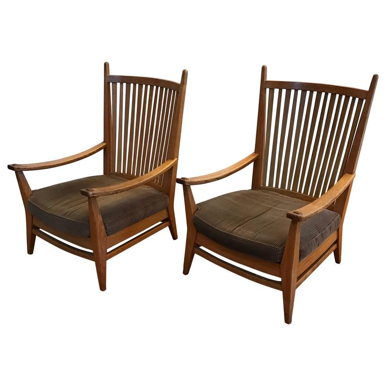 1930 1940 rare pair of modernist design oak lounge chairs for Chair design 1930