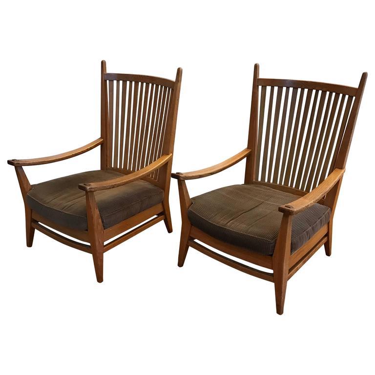 1930-1940, Rare Pair of Modernist Design Oak Lounge Chairs by Bas Van Pelt