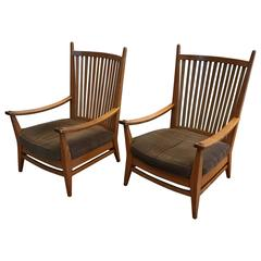 1930-1940, Rare Pair of Modernist Design Oak Lounge Chairs by Bas Van Pelt