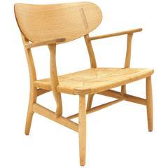Hans Wegner, Easy Chair, Oak, CH 22 Shell Chair, Maker Carl Hansen & Son