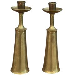 Pair of Brass Danish Candlestick Signed Jens Quistgaard for Dansk