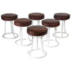 Set of Six French Tubular Metal and Tan Leather Stools, 1930s