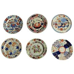 Early Mason's Ironstone Plates, Harlequin Set of Six, Some Very Rare, circa 1815