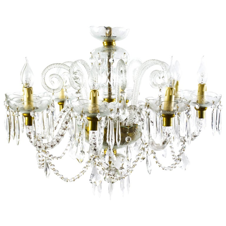 Vintage Venetian Eight-Light Crystal Chandelier For Sale