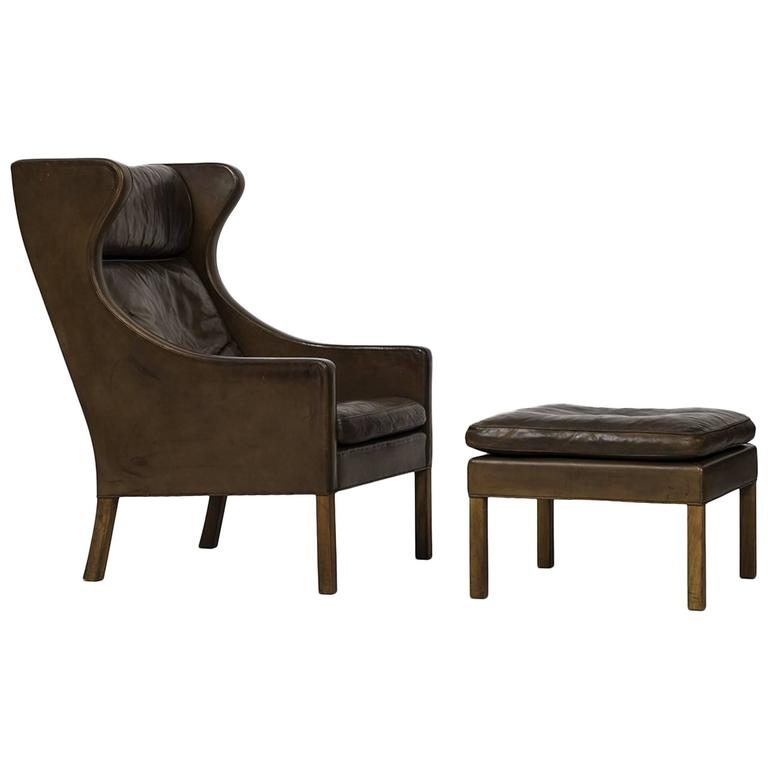 Børge Mogensen Wingback Chair Model 2204 with Stool Model 2202 1