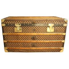1930s Moynat Checkers Canvas Steamer Trunk