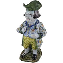 Desvres French Faience Figural Tavern Jug, 'The Snuff Taker'