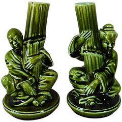 Pair of 19th Green Majolica Japonese Vases Sarreguemines