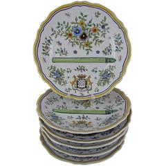 French Desvres Fourmaintraux Faience Floral Asparagus Plates, Set of Six