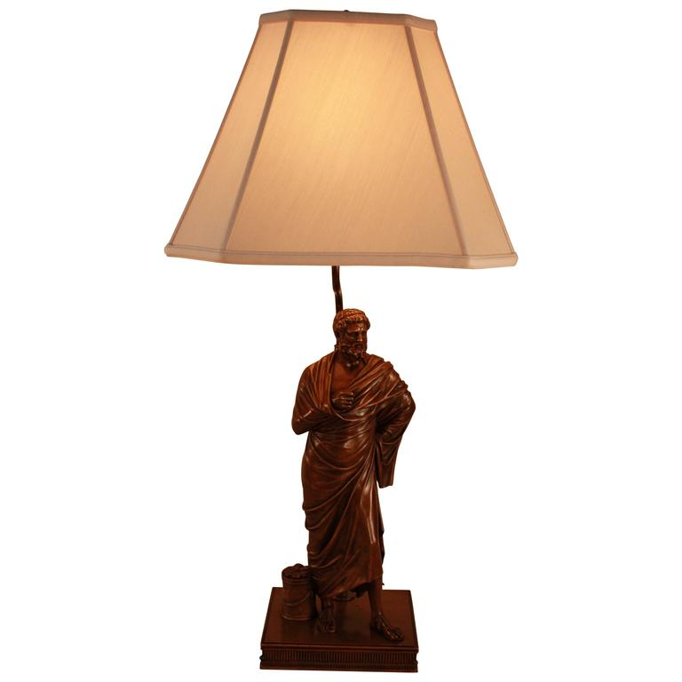 19th Century French Bronze of Classic Style Greek Philosopher Table Lamp