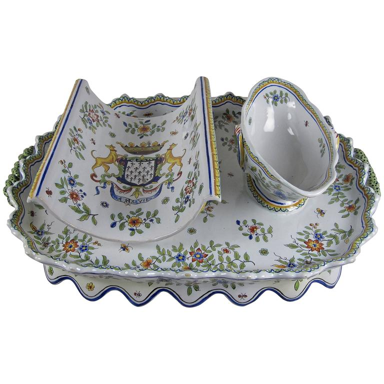 French Desvres Fourmaintraux Faience Floral Asparagus Server