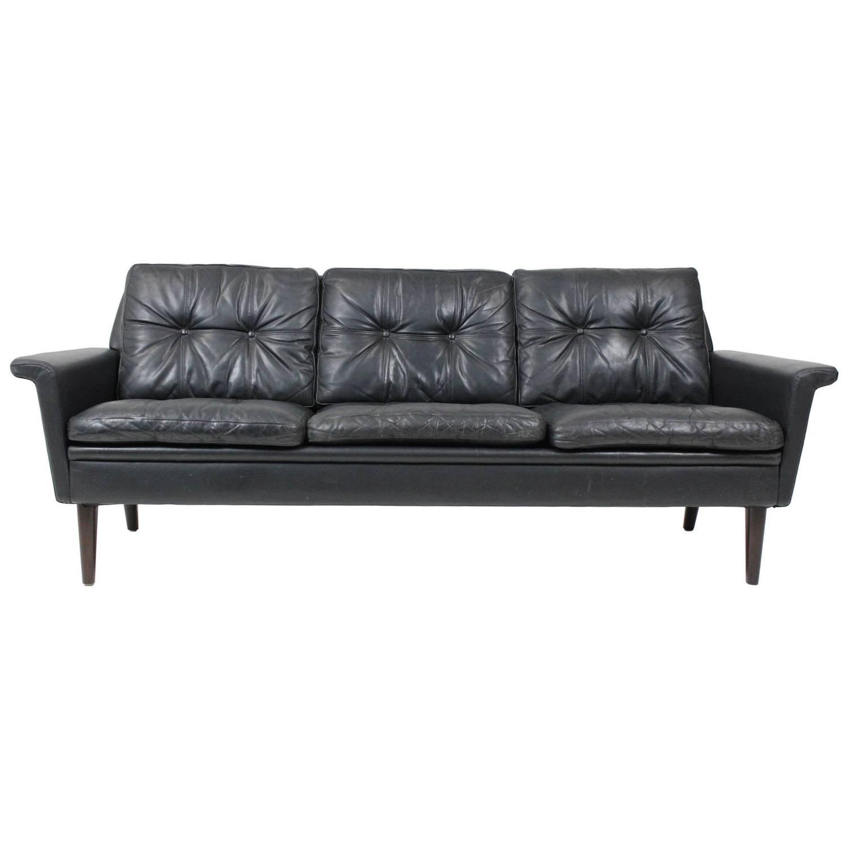 Hans Olsen Three-Seat Sofa In Black Patinated Leather