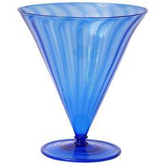 Large Art Deco Soffiati Venini Murano Blue Glass Vase Design by Martinuzzi