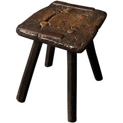 Wonderfully Primitive English Oak Stool of Great Character, 18th Century
