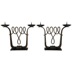 Fine Pair of Art Deco Wrought Iron Candelabra by Zadounaïsky 1930 France
