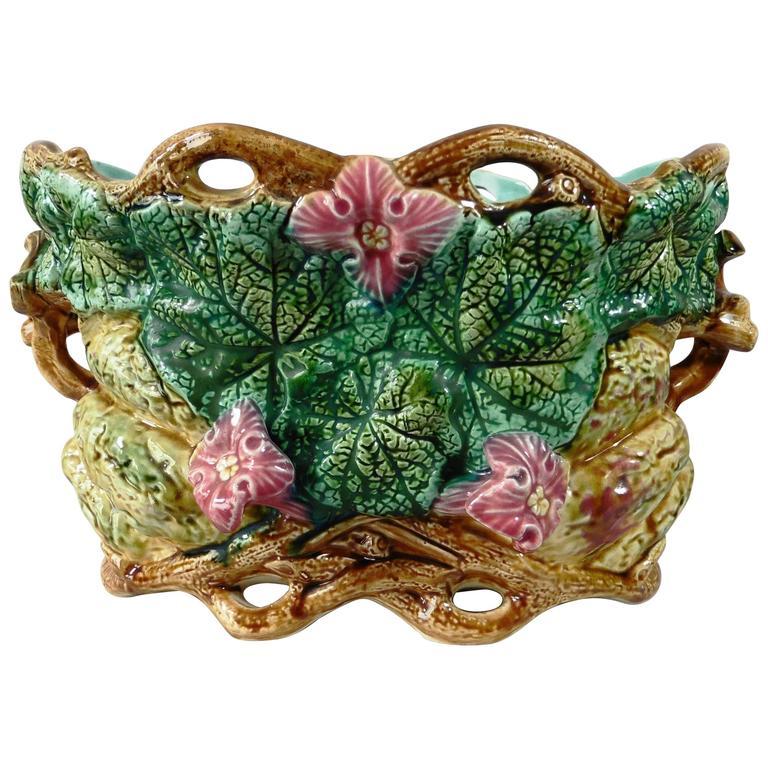 19th century majolica pumpkin jardini re onnaing for sale for Jardiniere decorative