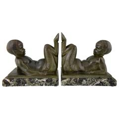 French Art Deco Bookends Young Satyrs by C. Charles on Marble Base, 1930