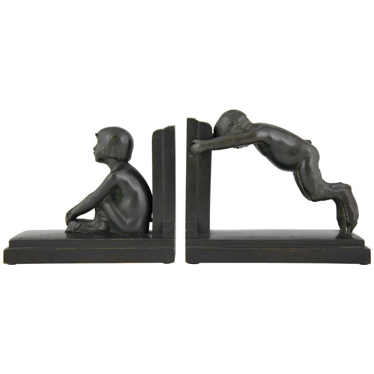 Art Deco Bronze Bookends Young Satyrs by Paul Silvestre, 1920 France