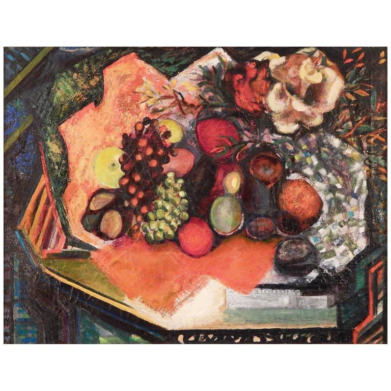 """""""Table with Fruit,"""" Vivid Cubist Still Live in Oranges and Greens"""