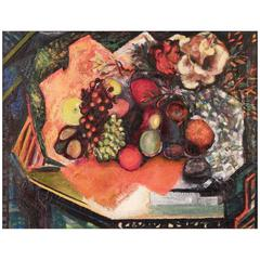 """Table with Fruit,"" Vivid Cubist Still Live in Oranges and Greens"