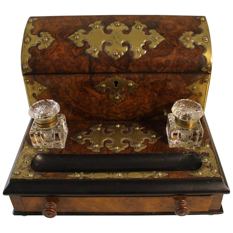 English Burl Walnut Desk Set Stationary Box With Inkwells And Pen Holder For