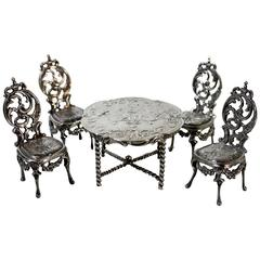 Edwin Thompson Bryant Sterling Silver French Louis XV, Doll Table and Chairs