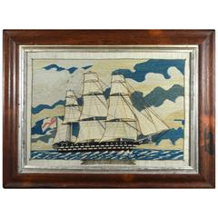 English Sailor's Woolwork Picture of the Named St. Jean D' Arcre, 101 Guns