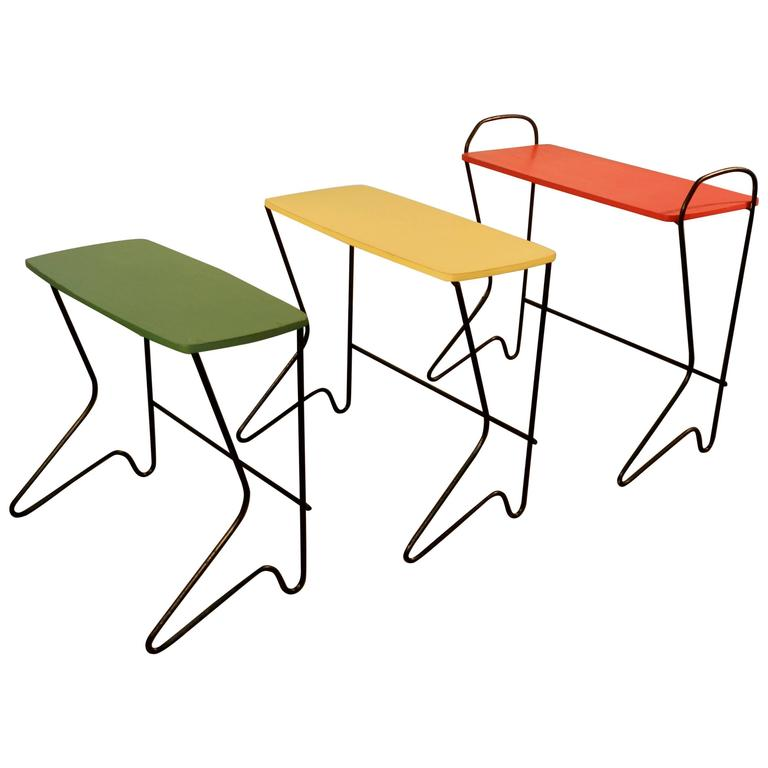 Set of Three Nesting Tables in Metal and Lacquered Wood, circa 1950
