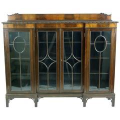 Antique Scottish Four-Door Inverted Mahogany Bookcase, Display, Curios Cabinet
