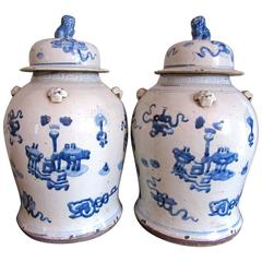 Chinese Blue and White Porcelain Ginger Jars, Pair