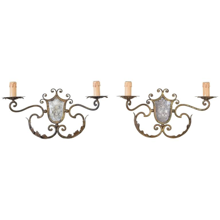 Pair of Italian Gilt Metal and Mirrored Two-Arm Sconces For Sale