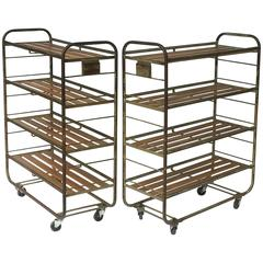 French Industrial Rolling Racks of Steel and Wood, Two Available
