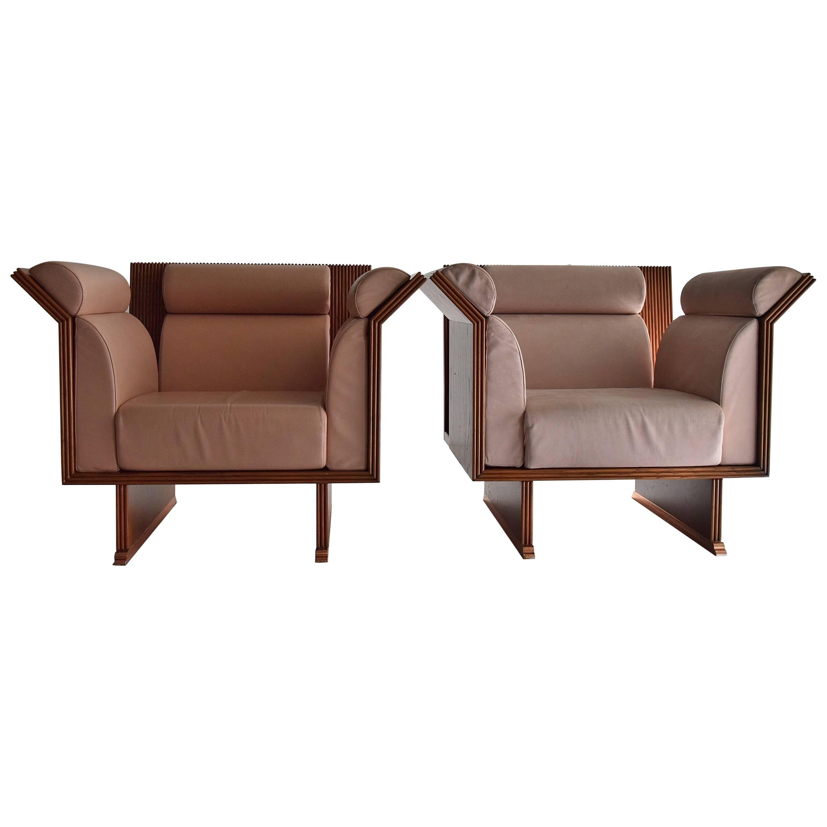 Post Modern Mahogany Arm Chairs by Ugo La Pietra
