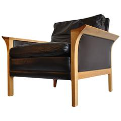 Hans Olsen Oak and Leather Armchair