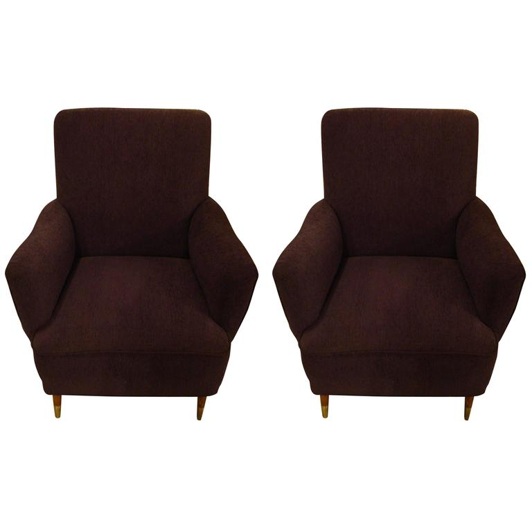 Pair of Gio Ponti Style Mid Century Modern Arm Lounge Chairs