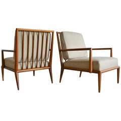 Pair of T.H. Robsjohn-Gibbings Spindle Back Lounge Chairs, circa 1950