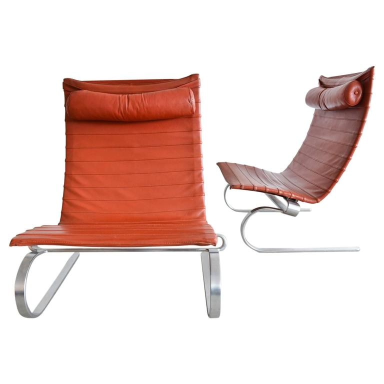 Pair of Poul Kjærholm PK20 Leather Lounge Chairs For Sale