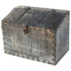 Large English Trunk of Polished Iron from the 19th Century