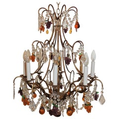 Vintage Italian Venetian Gilt Fruit Eight-Light Crystal Chandelier Fixture